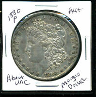 1880 P AU MORGAN DOLLAR 90 SILVER ABOUT UNCIRCULATED COMBINE SHIP$1 COIN 4157