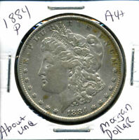 1884 P AU MORGAN DOLLAR 90 SILVER COIN ABOUT UNCIRCULATED COMBINE SHIP$1 1300
