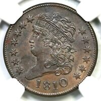 1810 C 1 NGC MS 63 BN CAC CLASSIC HEAD HALF CENT COIN 1/2C