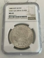 1888 $1 MORGAN SILVER DOLLAR HOT 50 VAM 12A DDR AND CLASH NGC MINT STATE 63