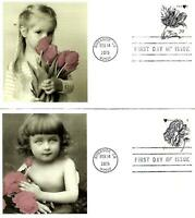 THE ENGRAVED TULIP & ROSE 2 DIFF FDC 4959 60 FLEETWOOD CACHE