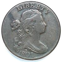 1801 S-216 NCS VF DETAILS DRAPED BUST LARGE CENT COIN 1C