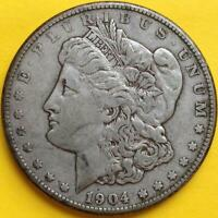 1904-S MORGAN SILVER DOLLAR -  VF WITH EXTRA FINE  QUALITIES -  TOUGH DATE