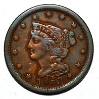 1853 BRAIDED HAIR HALF CENT  EXTRA FINE  EXTRA FINE DETAILS  1/2C  K943 TRUSTED
