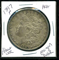 1897 P AU MORGAN DOLLAR ABOUT UNCIRCULATED 90SILVER COIN OLD $1 AUCTION 3475