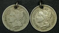 LOT OF 2 HOLED NICKEL THREE CENT PIECES: 1865 & 1866