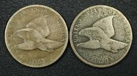 LOT OF 2 FLYING EAGLE CENTS: 1857 & 1858 CORRODED