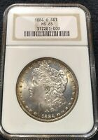 CHOICE MINT STATE 65 1884-O MORGAN SILVER DOLLAR NGC MINT STATE 65 OH VAM38 DBL 1 O TILTED LEFT