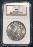 CHOICE MINT STATE 64 1898-O MORGAN SILVER DOLLAR NGC MINT STATE 64 OH  EXQUISITE FROSTY GEM