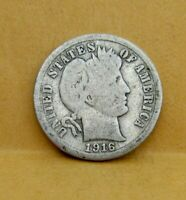 1916 P SILVER CAPPED LIBERTY BARBER DIME 10 CENT U.S, COIN                C