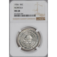 NORFOLK 1936 SILVER COMMEMORATIVE 50C NGC MINT STATE 68 3294-20