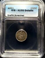1861 SEATED LIBERTY SILVER HALF DIME 5C AU-50 DETAILS ICG GREAT CONDITION