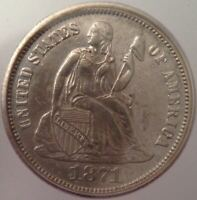 1871 SEATED LIBERTY DIME - ICG AU 50 -  LY STRUCK - TOUGHER TYPE 5 DIME