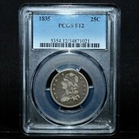 1835 CAPPED BUST QUARTER  PCGS F 12  25C SILVER FINE  NOW 021 TRUSTED