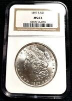 CHOICE MINT STATE 63 1897-S MORGAN SILVER DOLLAR NGC MINT STATE 63 OH  EXQUISITE FROSTY GEM