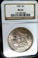 CHOICE 1902-P MORGAN SILVER DOLLAR NGC MINT STATE 63 OH  EXQUISITE FROSTY GEM W/TONING