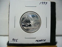 1999  CANADA 25 CENT  QUARTER  DOLLAR  SILVER PROOF   .925   MARCH