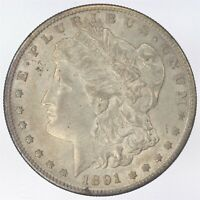1891-S MORGAN SILVER DOLLAR ABOUT UNCIRCULATED AU WS499