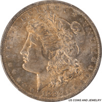 1882-O MORGAN SILVER DOLLAR PCGS MINT STATE 63 ANTIQUE BRONZE COLOR TONING