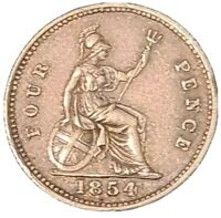 1854 VICTORIA SILVER FOURPENCE  LOVELY  HIGHLY DETAILED COIN