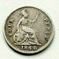 1848 OVER 1846 VICTORIA FOURPENCE GROAT 4D SILVER COIN 1848/