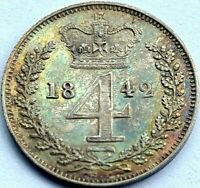 1842 GROAT FOURPENCE 4D COIN GREAT BRITAIN VICTORIA STUNNING