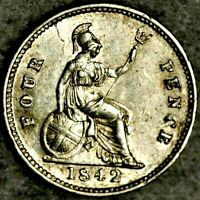 1842 SILVER GROAT COIN   FOURPENCE   4D QUEEN VICTORIA UNC D