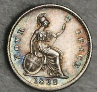 STUNNING 1838 QUEEN VICTORIA FOURPENCE 4D SILVER COIN 4 FOUR