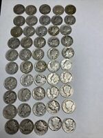 [LOT OF 50] MERCURY DIMES 1916 1945 90  SILVER EXACT COINS 7