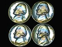 LOT OF 4   1968 S PROOF JEFFERSON NICKELS WITH STUNNING TONI