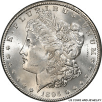 1894-S MORGAN SILVER DOLLAR PCGS MINT STATE 64 FROSTY WHITE SUPER CHOICE