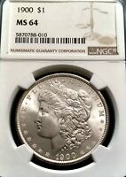 CHOICE 1900-P MORGAN SILVER DOLLAR NGC MINT STATE 64 EXQUISITE BLAST WHITE FROSTY GEM