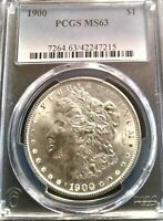 CHOICE 1900-P MORGAN SILVER DOLLAR PCGS MINT STATE 63 EXQUISITE BLAST WHITE FROSTY GEM