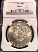 CHOICE 1898-O MORGAN SILVER DOLLAR NGC MINT STATE 65 EXQUISITE BLAST WHITE FROSTY GEM
