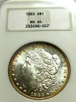 1883 MORGAN SILVER DOLLAR, NGC MINT STATE 64  LOOKS MINT STATE 65