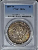 1899-O $1 PCGS MINT STATE 64 NEAR GEM UNCIRCULATED UNC MORGAN DOLLAR TONING TONED COIN 3