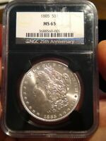 1885 $1 MORGAN DOLLAR NGC MINT STATE 65 GEM UNCIRCULATED 90 SILVER US COIN
