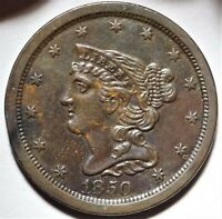 1850 BRAIDED HAIR HALF CENT ALMOST UNCIRCULATED AU KEY DATE 1/2C COIN