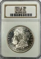 1881 S $1.00 MORGAN SILVER DOLLAR NGC MINT STATE 67 PL 11903