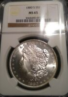 1880 S $1 MORGAN DOLLAR NGC MINT STATE 65 GEM UNCIRCULATED SILVER US COLLECTIBLE COIN