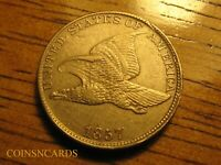 1857 1C FLYING EAGLE CENT FULL BOLD TAIL FEATHERS UNCIRCULAT