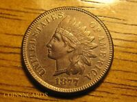 1877 INDIAN HEAD CENT LOW MINTAGE KEY IN SERIES ABOUT UNCIRC