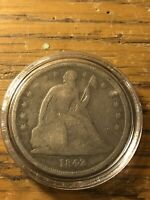 1842 PHILADELPHIA MINT SILVER SEATED DOLLAR SEE PICS GREAT COIN FOR TYPE SET