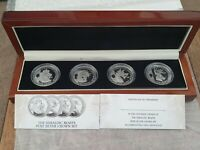 THE HERALDIC QUEENS BEAST PURE SILVER 4 X  CROWN SET CASED W