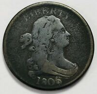 1806 DRAPED BUST HALF CENT COIN, LARGE 6 WITH STEMS