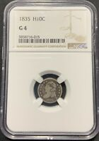 1835 H10C CAPPED BUST HALF DIME NGC G-4