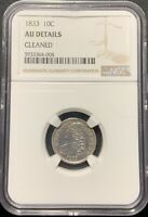 1833 10C CAPPED BUST DIME NGC AU DETAILS CLEANED