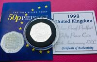 ROYAL MINT SILVER PROOF PIEDFORT 50P COIN EEC 25TH ANNIVERSA