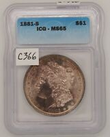 1881 S MORGAN SILVER DOLLAR, ICG MINT STATE 65, GEM UNCIRCULATED, CERTIFIED, C366