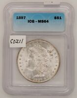 1897 MORGAN SILVER DOLLAR, ICG MINT STATE 64, GEM UNCIRCULATED, CERTIFIED, C211